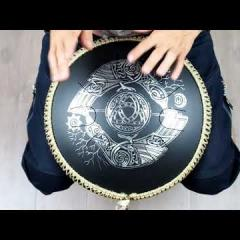 Guda Freezbee (Steel tonque drum). Custom scale. Crow design